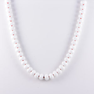 Classic Semi-Precious Gemstone 12x8-7x5mm Natural White Onyx Faceted Rondelle Beads 18.8 inch Luxury Handmade Women's Necklace