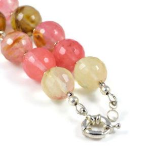 Classic Semi-Precious Gemstone 14mm Natural Cherry Quartz Faceted Round Beads 19.5 inch Luxury Handmade Women's Necklace