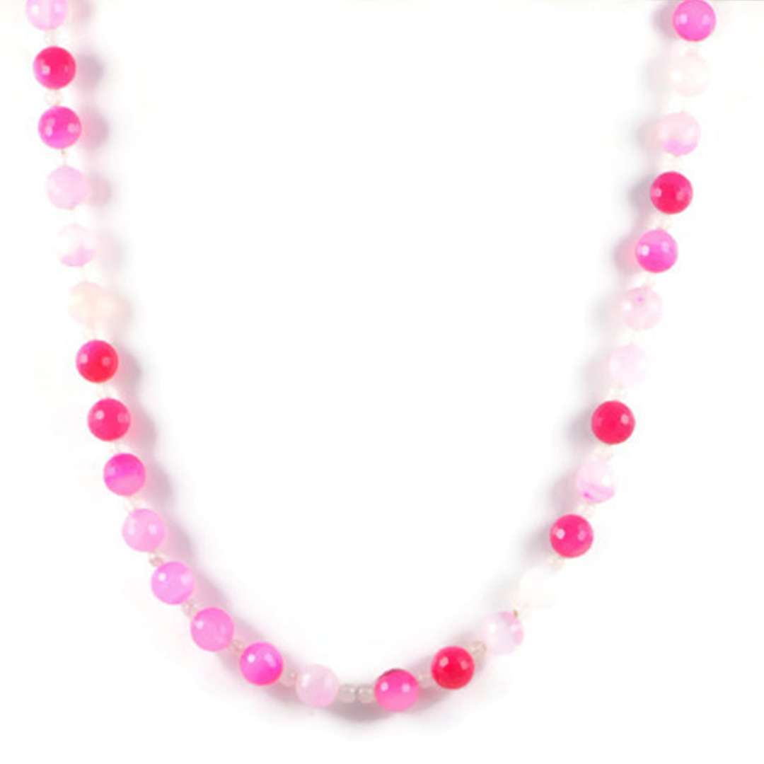 Classic Semi-Precious Gemstone 10mm Natural Pink Agate Faceted Round Beads 20.8 inch Luxury Handmade Women's Necklace