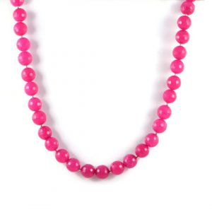Classic Semi-Precious Gemstone 12mm Natural Pink Agate Faceted Round Beads 20.2 inch Luxury Handmade Women's Necklace