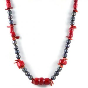 Classic 11x9 mm Dark Grey Freshwater Rice Pearl Gemstome Red Coral Beads 24 inch Luxury Handmade Women's Necklace