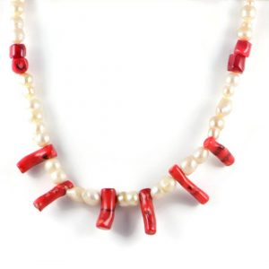 Classic 13-23x11mm Cream Freshwater Nugget Pearl Gemstone Red Coral Beads 24 inch Luxury Handmade Women's Necklace