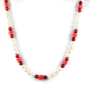 Classic 8-9x10mm White Freshwater Potato Pearl Gemstone Red Orange Coral Beads 24 inch Handmade Women's Necklace