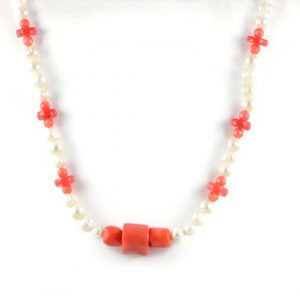 Classic 10x8 mm White Freshwater Potato Pearl Gemstome Orange Coral Beads 24 inch Handmade Women's Necklace