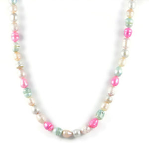 Classic 9-13x10mm Multicolour Freshwater Rice Pearl Beads 24 inch Handmade Women's Necklace