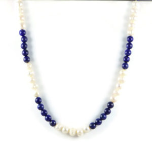 Classic 10x8mm White Freshwater Potato Pearl & Gemstome Lapis Lazuli 8mm Beads 24 inch Handmade Women's Necklace