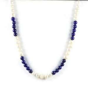 Classic 10x8mm White Freshwater Potato Pearl & Gemstome Lapis Lazuli 8mm Beads 24 inch Handmade Women's Necklace