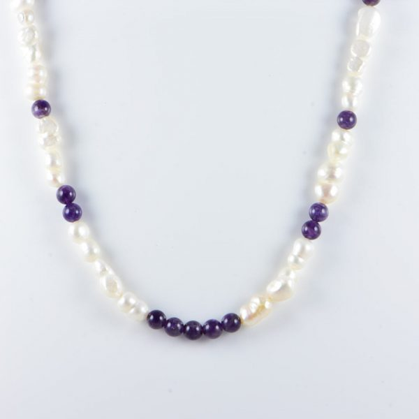 Classic 13-23x11mm White Freshwater Nugget Pearl Gemstone Amethyst Beads 24 inch Handmade Women's Necklace