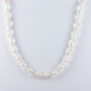 AqBeadsUK Natural 10X8mm White Freshwater Potato Pearl Crystal Rondelle AB Coated 12x8mm Beads 24 inch Necklace