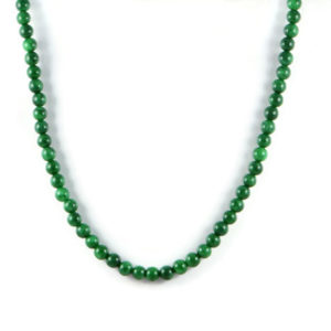 Classic Semi-Precious 8mm Gemstone Green Jade Round Beads 24 inch Luxury Handmade Women's Necklace