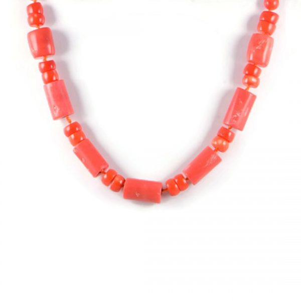 Classic Semi-Precious 24x12-9mm Gemstone Orange Coral Round Beads 18.7 inch Approx Luxury Hand-knotted Women's Necklace