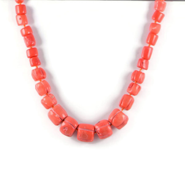 Classic Semi-Precious 16-8mm Gemstone Orange Coral Round Beads 19.2 inch Approx Luxury Hand-knotted Women's Necklace