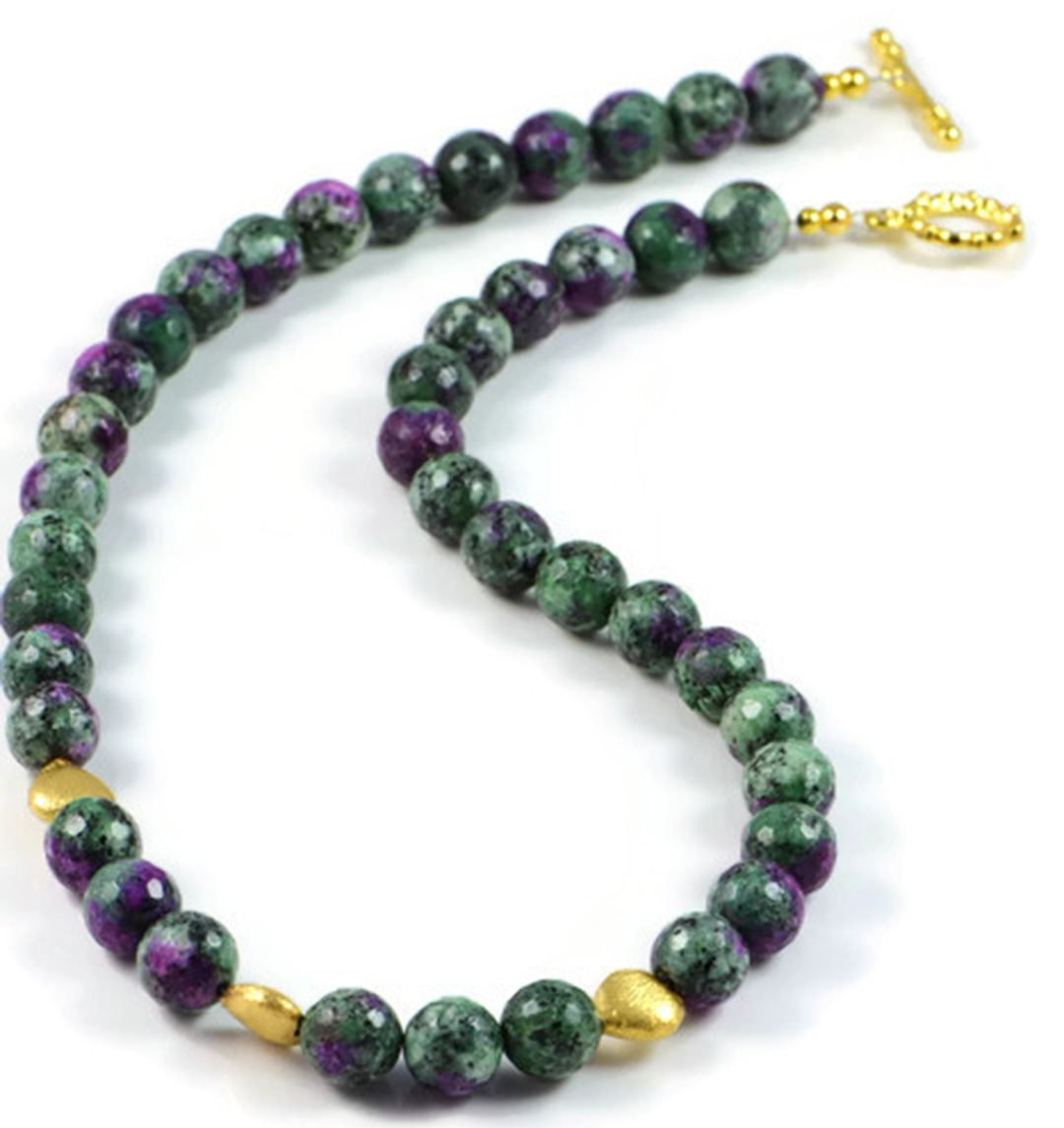 Classic Semi-Precious Gemstone 10mm Ruby Zoisite Faceted Round Beads 19 inch Luxury Handmade Women's Necklace
