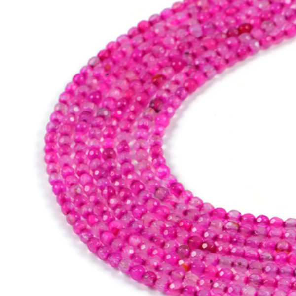 AqBeadsUk Semi-Precious Crystal Energy Stones with Natural Healing Power - Premium Genuine Light Pink Agate 4mm Faceted Round Gemstone Jewellery Making Beads on 14.5 inch 2 Strands
