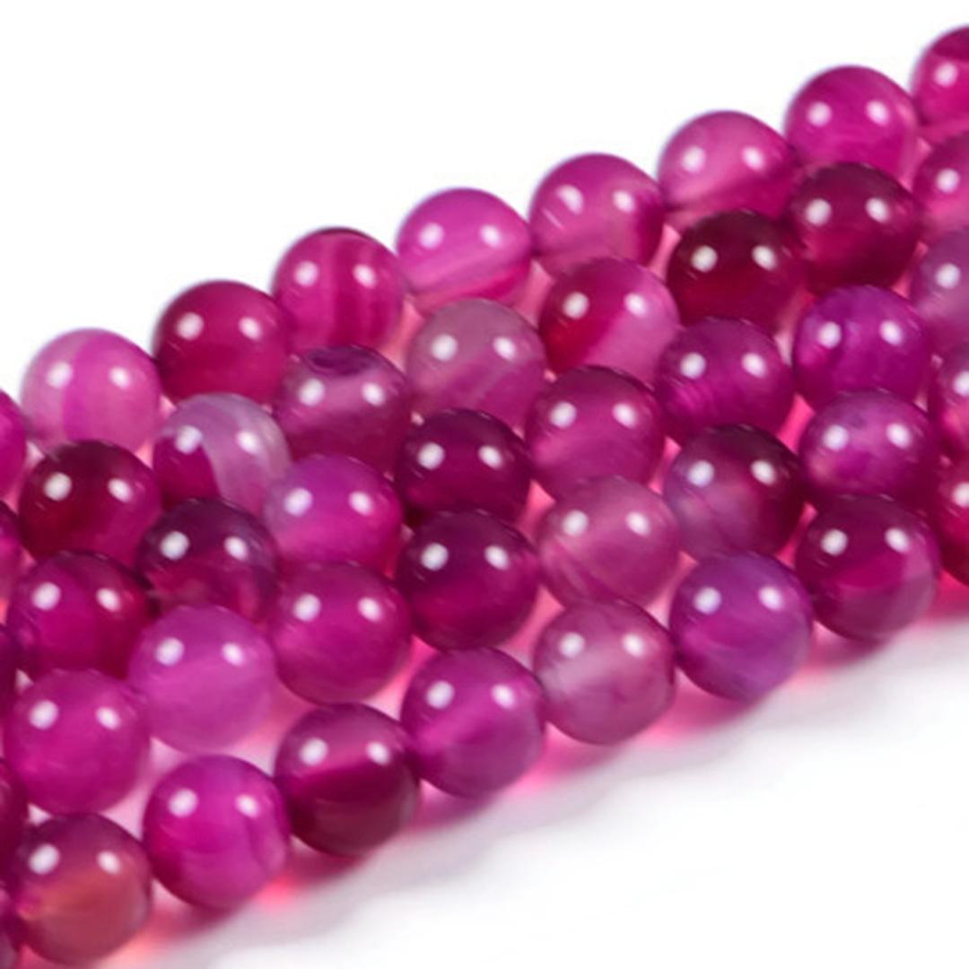 AqBeadsUk Semi-Precious Crystal Energy Stones with Natural Healing Power - Premium Genuine Rose Agate 10mm Round Gemstone Jewellery Making Beads on 15 inch Strand