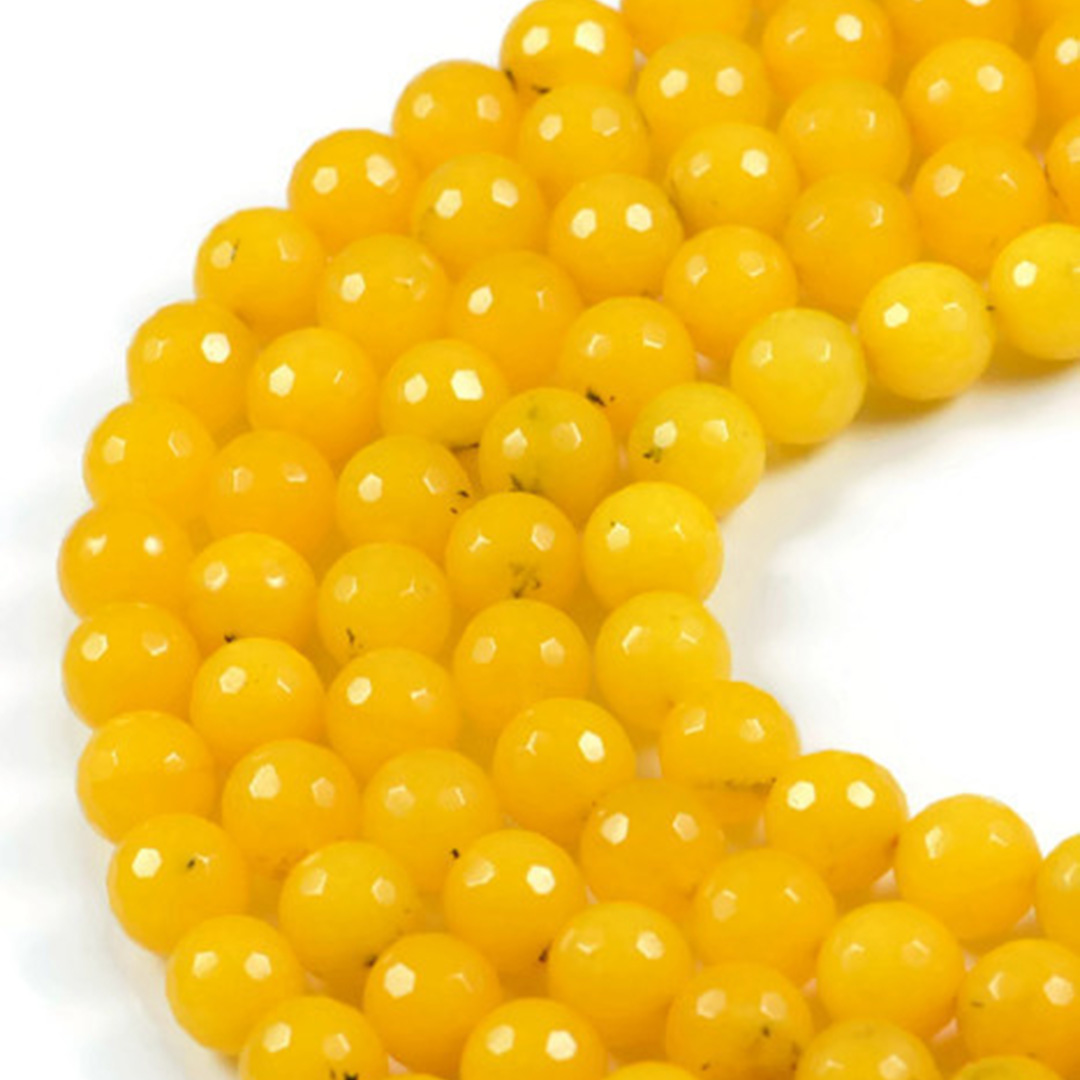 AQBEADSUK 10mm Yellow Agate Feceted Round Gemstone Beads Strand 15 inch Jewellery Making Beads