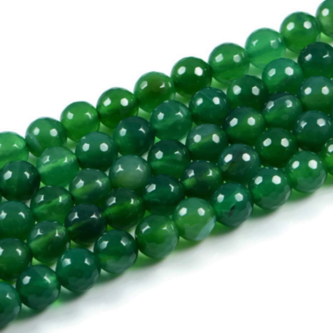 AqBeadsUk Semi-Precious Crystal Energy Stones with Natural Healing Power - Premium Genuine Green Agate 10mm Faceted Round Gemstone Jewellery Making Beads on 15 inch 2 Strands