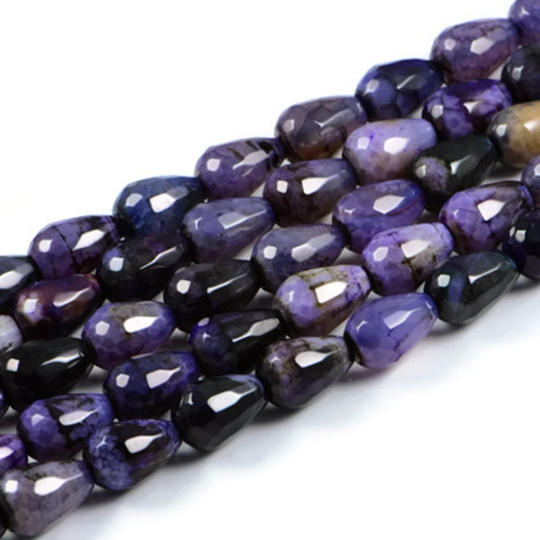 AqBeadsUk Semi-Precious Crystal Energy Stones with Natural Healing Power - Premium Genuine Dyed Purple Agate 10x14mm Drop Gemstone Jewellery Making Beads on 15.5 inch Strand