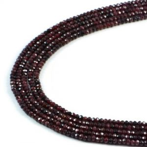"""Semi-Precious Natural 4x2mm Gernet Faceted Rondelle Gemstone Beads 15"""""""