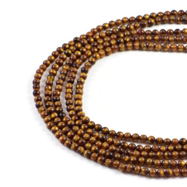 """Semi-Precious Gold Coral 4mm Round Jewellery making Beads 15"""""""
