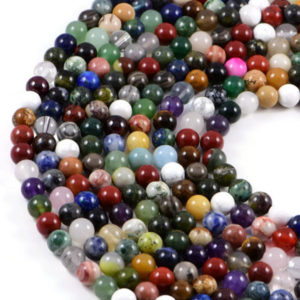 Semi-Precious Mixed Colour Gemstone 8mm Round Jewellery Making Beads On 15 Inch Strand