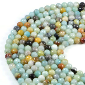 Semi-Precious Natural Amazonite 8mm Faceted Round Gemstone Jewellery Making Beads On 15 Inch Strand