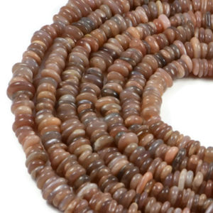 Semi-Precious Natural Moonstone 8-12X3-5mm Disc Gemstone Jewellery Making Beads On 16 Inch Strand