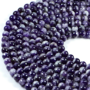 Semi-Precious Natural Amethyst 8mm Faceted Round Gemstone Jewellery Making Beads On 15 Inch Strand