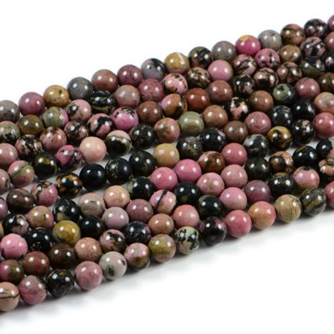 Semi-Precious Natural Rhodochrosite 8mm Round Gemstone Jewellery Making Beads On 15.5 Inch Strand