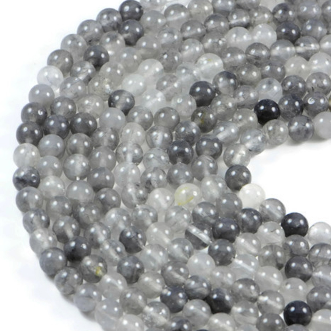 Semi-Precious Natural Cloudy Quartz 8mm Round Gemstone Jewellery Making Beads On 15.5 Inch Strand