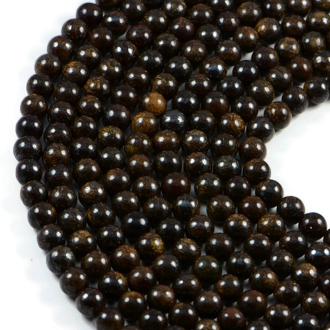 Semi-Precious Natural Bronzite 8mm Round Gemstone Jewellery Making Beads On 15.5 Inch Strand