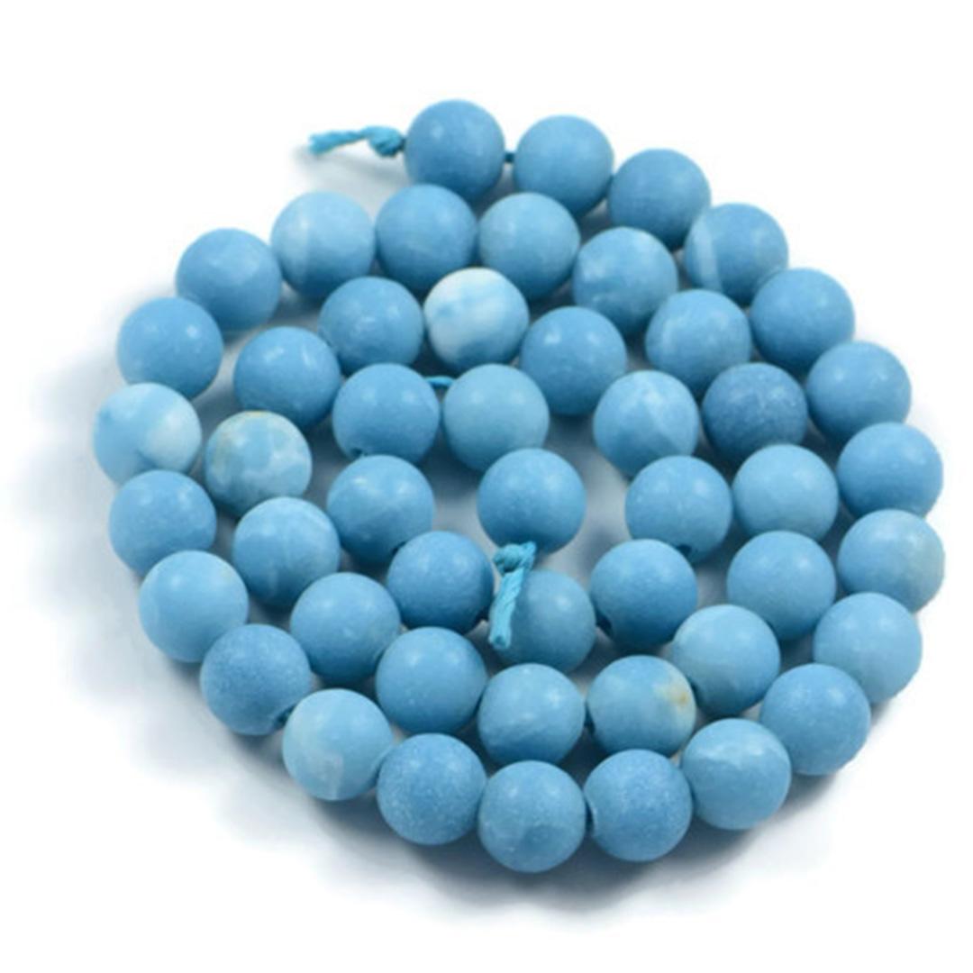 Semi-Precious Natural Matte Larimar Quartz 8mm Round Gemstone Jewellery Making Beads On 15 Inch Strand