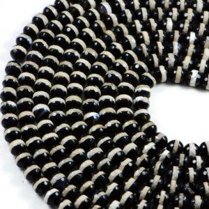 Semi-Precious Natural Black Onyx 8mm Faceted Round Gemstone Jewellery Making Beads On 14.5 Inch Strand