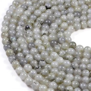 Semi-Precious Natural White Labradorite 8mm Faceted Round Gemstone Jewellery Making Beads On 15.5 Inch Strand