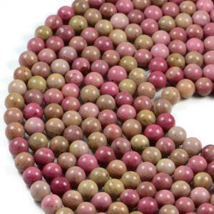 Semi-Precious Natural Pink Wood Jasper 8mm Round Gemstone Jewellery Making Beads On 15.5 Inch Strand