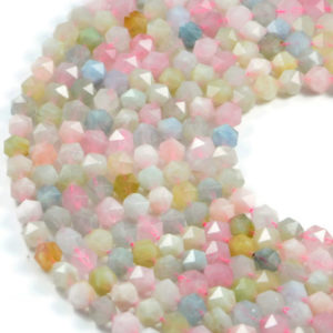 Semi-Precious Natural Multi Colour Morganite 8mm Faceted Round Gemstone Jewellery Making Beads On 16 Inch Strand