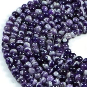 "Semi-Precious Natural Teeth Amethyst Round Gemstone Jewellery Making Beads 15.5""- 4mm 6mm 8mm"