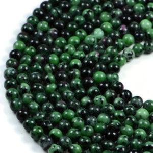"Semi-Precious Natural Ruby Zoisite Round Gemstone Jewellery Making Beads 15.5""- 4mm 6mm 8mm"