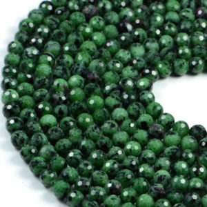 """Semi-Precious Natural Ruby Zoisite Faceted Round Gemstone Jewellery Making Beads 16""""- 4mm 6mm 8mm"""