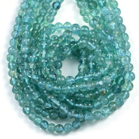 Semi Precious Natural Sky Blue Apatite 4mm Gemstone Round beads On 13 Inch Strand