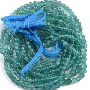 Semi Precious Natural Sky Blue Apatite 4mm Gemstone Round beads On 13 Inch Strand