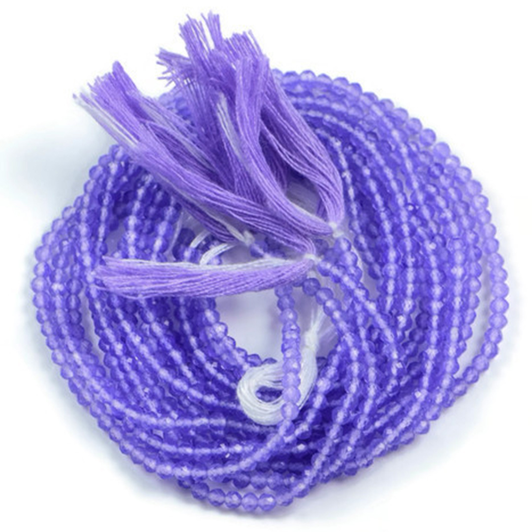 Semi Precious Micro Faceted Natural Lavander Quartz 2-2.5mm Gemstone Rondelle beads On 13 Inch Strand