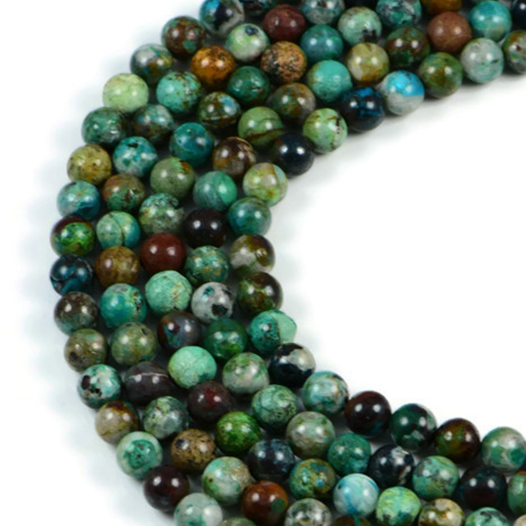 Semi-Precious Chrysocolla 7-7.5mm Faceted Round Gemstone Jewellery Making Beads On 15 Inch Strand