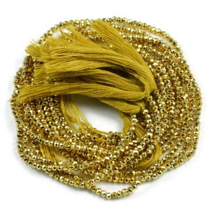 Semi Precious Micro Faceted Golden Pyrite 2-2.5mm Gemstone Rondelle beads On 13 Inch Strand