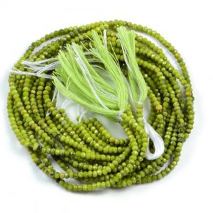 Semi Precious Micro Faceted Natural Green Opal 2-2.5mm Gemstone Round beads On 13 Inch Strand