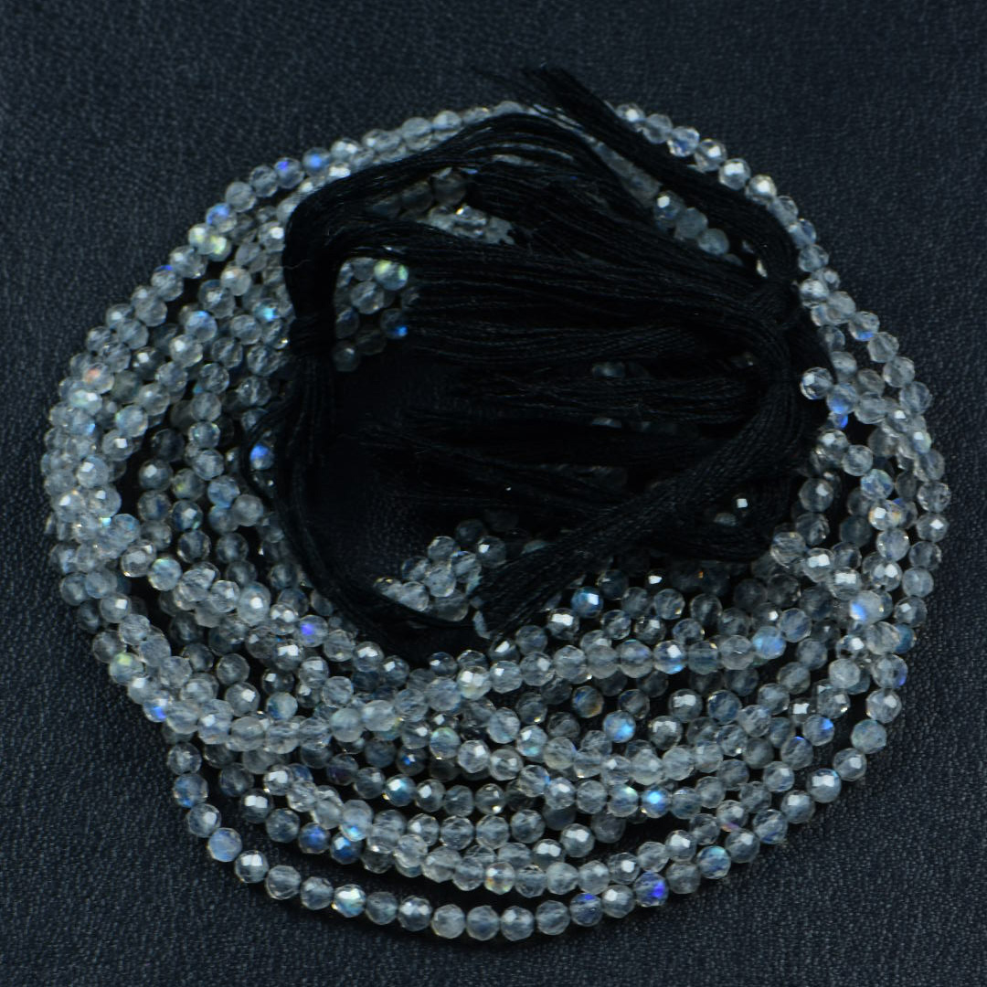 Semi Precious Micro Faceted Natural Labradorite 2-2.5mm Gemstone Round beads On 13 Inch Strand