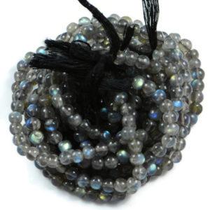 Semi Precious Natural Labradorite 4mm Gemstone Round beads On 13.5 Inch Strand