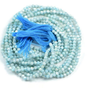 Semi Precious Micro Faceted Natural Larimar 2-2.5mm Gemstone Rondelle beads On 13 Inch Strand