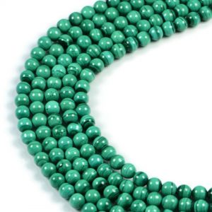 Semi-Precious Natural Malachite 6mm Round Gemstone Jewellery Making Beads On 15.5 Inch Strand