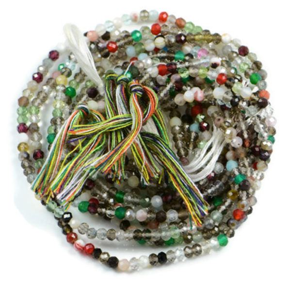 Semi Precious Micro Faceted Natural Mixed Colour Gemstone 2-2.5mm Rondelle beads On 13 Inch Strand